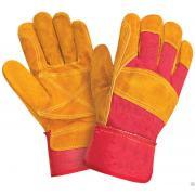 Перчатки комбинированные РЛ желтые с красным ткань - спилок, усиленные